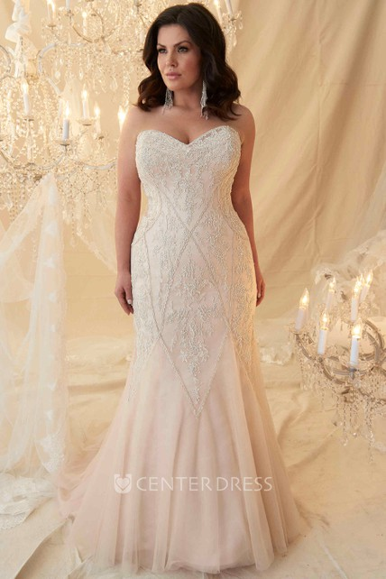 Mermaid Sweetheart Tulle Plus Size Wedding Dress With Lace Up ...