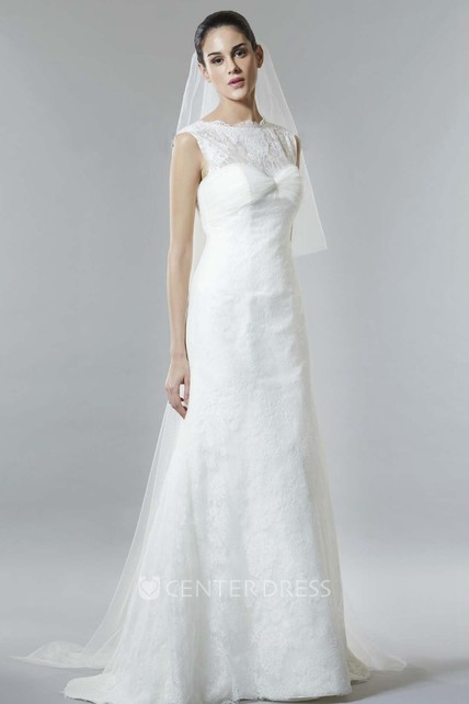 3cf4fd076 A-Line Ruched Cap-Sleeve Jewel Long Lace Wedding Dress With Low-V Back And  Brush Train - UCenter Dress