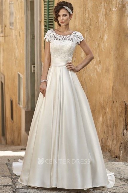 A-Line Maxi Short-Sleeve Square-Neck Lace Satin Wedding Dress ...