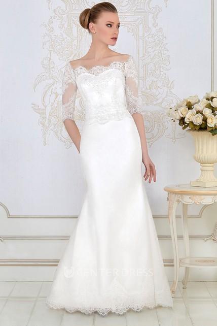 a308cab0941c Sheath Floor-Length Appliqued Bateau-Neck Half-Sleeve Lace&Satin Wedding  Dress - UCenter Dress