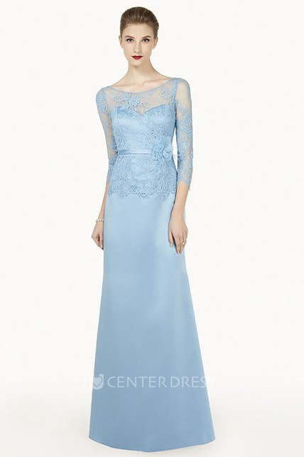 Lace Top Scoop Neck Satin Long Prom Dress With 3-4 Sleeve And Floral Satin Sash