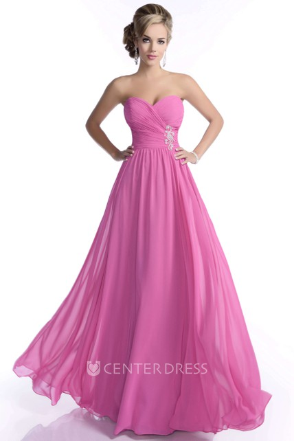 4af5eea920 A-Line Sweetheart Chiffon Bridesmaid Dress With Crisscross Ruched Bodice -  UCenter Dress