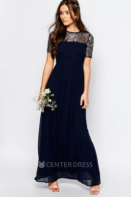 f877d6c9aa A-Line Short-Sleeve Sequined Jewel-Neck Ankle-Length Chiffon Bridesmaid  Dress With Pleats - UCenter Dress