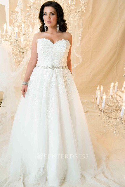 032ee9dda215 A-Line Sweetheart Maxi Jeweled Lace Plus Size Wedding Dress With Appliques  And Corset Back - UCenter Dress