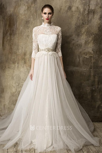 a386e4a0b5d High Neck 3 4 Sleeve A-Line Tulle Wedding Dress With Detachable Tulle Skirt  - UCenter Dress