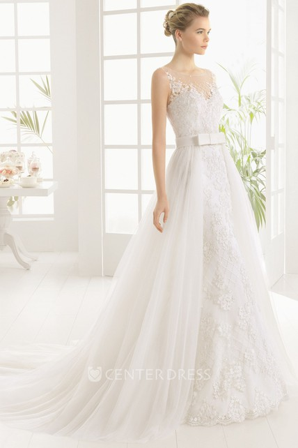 aa448e74 A-Line Floor-Length Appliqued Sleeveless Scoop-Neck Lace&Tulle Wedding Dress  With Sequins - UCenter Dress