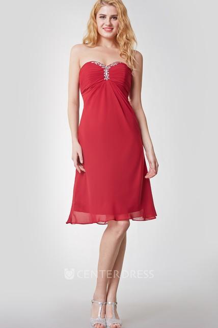 Knee Length Empire Waist Chiffon Dress