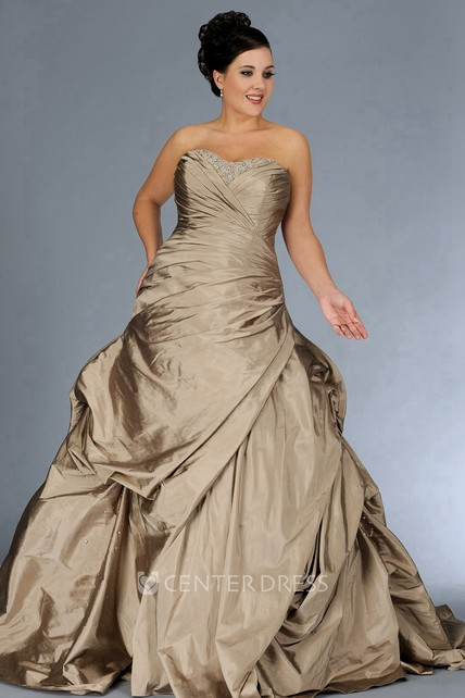 5c670617bc Strapped Satin Side-Ruched Dress With Beading And Corset Back - UCenter  Dress