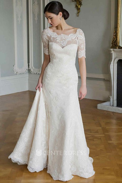 d1e757548ab3 Sheath Short-Sleeve Scoop-Neck Lace Wedding Dress With Illusion - UCenter  Dress