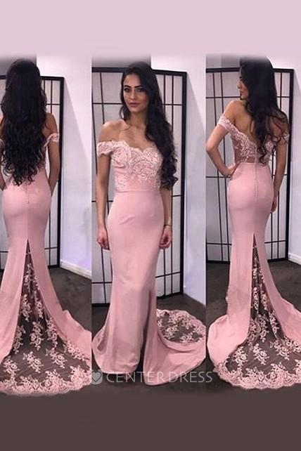 3f9c4cfc5525 Trumpet Mermaid Off-the-Shoulder Sleeveless Lace Satin Sweep Brush Train  Dresses - UCenter Dress