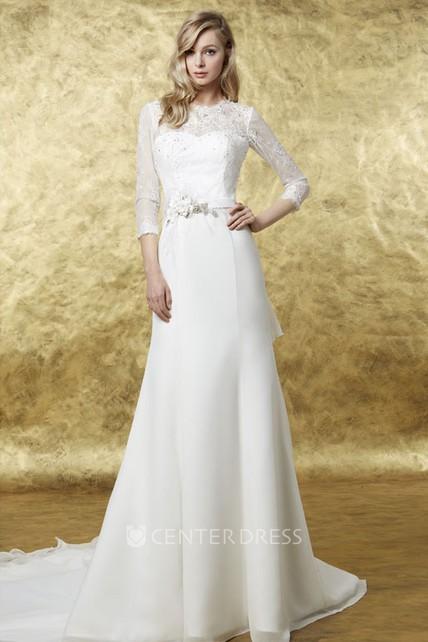 A Line 3 4 Sleeve High Neck Floral Chiffon Wedding Dress Ucenter Dress