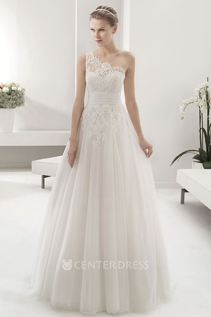 0c04462014b Lace Single Strap Empire Pleated Tulle Gown With Bandage - UCenter Dress