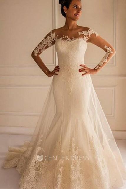 5e1fe6392a41 Chic Lace Appliques Mermaid Tulle Wedding Dress 2018 Court Train - UCenter  Dress