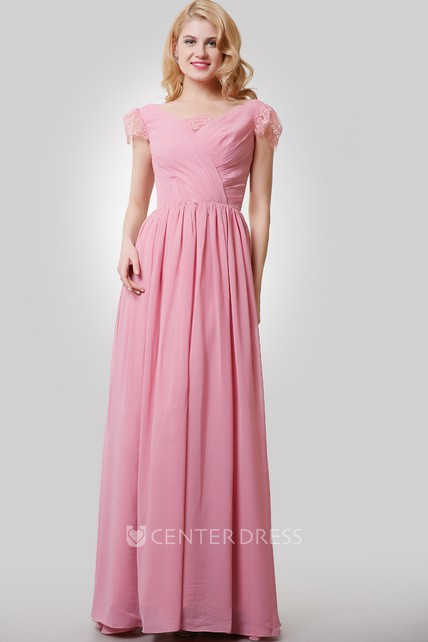 8acb77516b Chiffon A-Line Long Dress With V-Neck and Cap Lace Sleeves - UCenter Dress