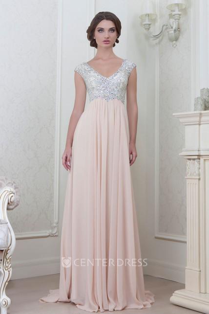 92e39f19163 A-Line Cap-Sleeve Empire V-Neck Floor-Length Beaded Chiffon Evening Dress  With Pleats - UCenter Dress