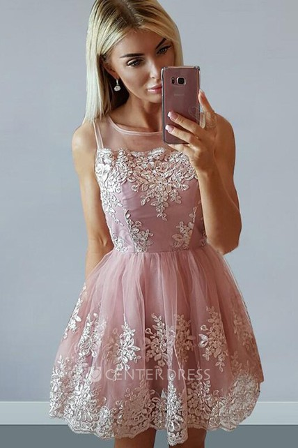 A-line Short Mini Sleeveless Bateau Appliques Pleats Ruching Lace Homecoming Dress