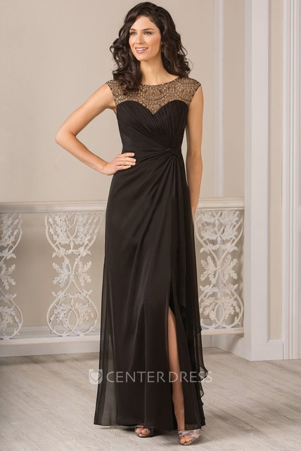 Cap-Sleeved Long Gown With Ruffles And Front Slit