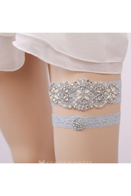Handmade European And American Blue Diamond Lace Elastic Garter