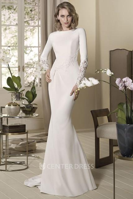 Sheath Long Sleeve High Neck Appliqued Floor Length Jersey Wedding Dress