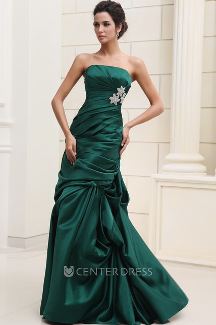 Unique Strapless Sleeveless Satin Ruched Formal Dress With Pick-Up Ruffles