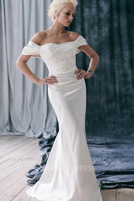 cbbb44ea1a917e Off-Shoulder Fit and Flare Satin Wedding Dress With Ruffles - UCenter Dress