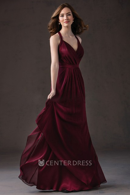 a9f6ab740f25 V-Neck Long Layered Gown With Pleats And Keyhole - UCenter Dress