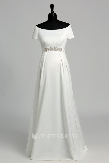 A Line Celebrity Floor-length Beading Ruffles Satin Maternity Wedding Dress