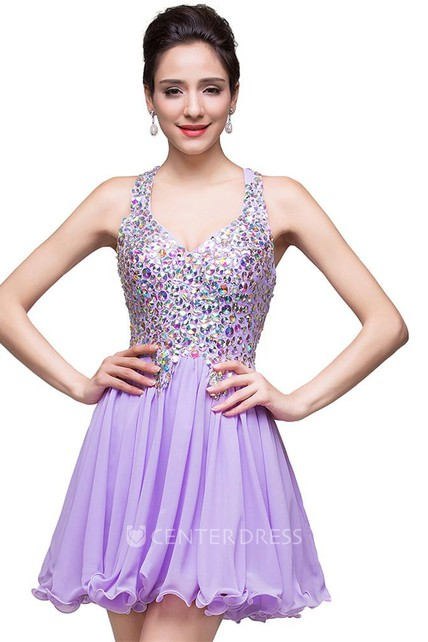 840f8ea45a4 Gorgeous Halter Sleeveless Homecoming Dress 2018 Short Tulle With Crystals  - UCenter Dress