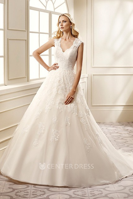 9f2ad756f1bd4 Ball Gown V-Neck Long Appliqued Cap-Sleeve Lace&Satin Wedding Dress - UCenter  Dress