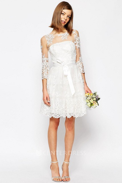 A-Line Scoop-Neck Long-Sleeve Short Lace Wedding Dress With Keyhole