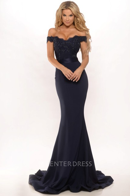 0e9fc2e1ea64 Mermaid Floor-Length Off-The-Shoulder Lace Jersey Prom Dress With Low-V  Back And Sweep Train - UCenter Dress