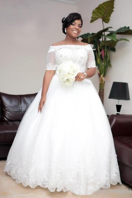 Ball Gown Off-the-shoulder Lace Tulle Open Back Zipper Wedding Gown