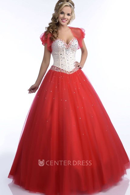 Tulle Ball Gown With Sequined Sweetheart Bodice And A Matching Cape