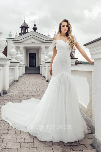 Luxury Chiffon and Lace Off-the-shoulder Mermaid Wedding Dress with Beading