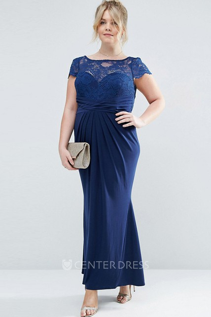 Ankle-Length Sheath Bateau Neck Appliqued T-Shirt Sleeve Chiffon Bridesmaid Dress