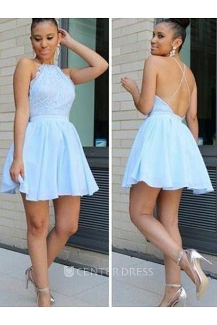 d31377c168 A-line Short Mini Sleeveless Halter Pleats Ruching Chiffon Lace Homecoming  Dress - UCenter Dress