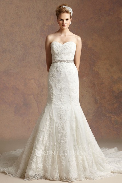 7715fab0b91 Sweetheart Trumpet Wedding Dress With Appliques And Beaded Waistline -  UCenter Dress