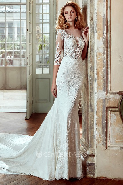 3 4 Sleeve Sheath Lace Wedding Dress With Court Train And Illusive