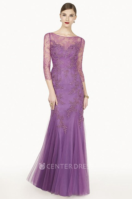 Embroidered Illuion 3-4 Sleeve Tulle Long Prom Dress With Appliques