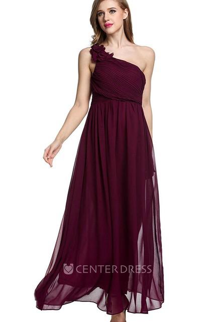e0ae542a5e3 Empire Floral Single Strap Chiffon Long Dress Red - UCenter Dress