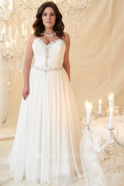72caeecd Sheath Sweetheart Long Beaded Chiffon Plus Size Wedding Dress With Ruching  And Pleats - UCenter Dress