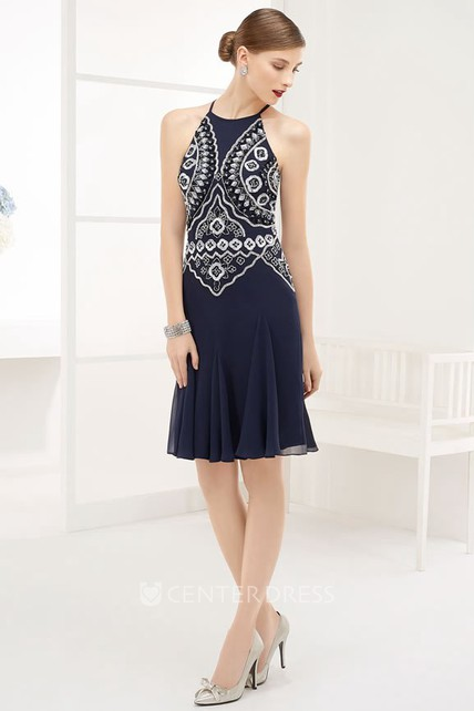 Chinoiserie Embroidery High Neck Sleeveless Chiffon Short Prom Dress With Keyhole
