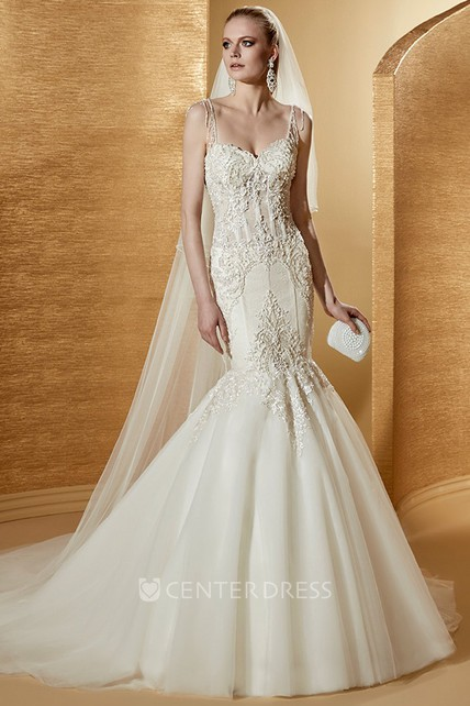 c3ebff2cf1e2 Sweetheart Court-train Mermaid Wedding Gown with Fine Appliques and Spaghetti  Straps - UCenter Dress