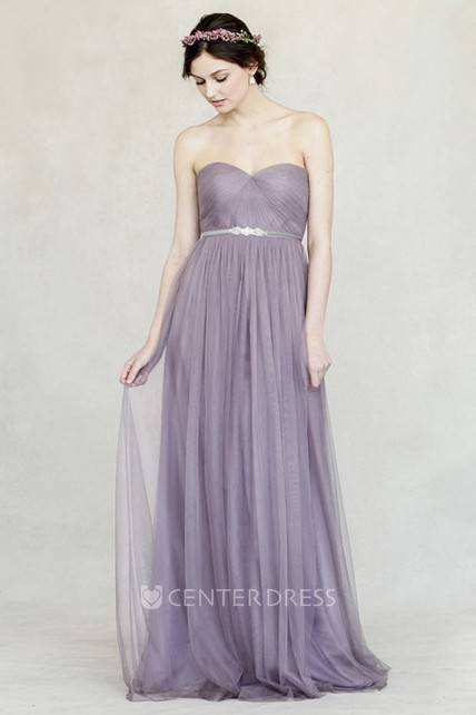 Floor-Length Empire Jeweled Sweetheart Sleeveless Tulle Bridesmaid Dress