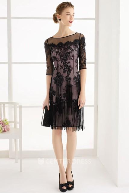 f7de0f7f024d66 Jewel Neck Half Sleeve Knee Length Lace Prom Dress With Fringe And Keyhole  - UCenter Dress
