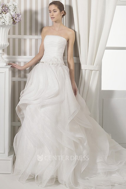 d37c0c0459cd0 A-Line Ruffled Maxi Sleeveless Strapless Organza Wedding Dress With Flower  And Ruching - UCenter Dress