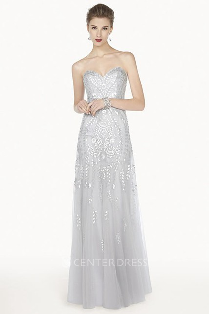Sweetheart A-Line Tulle Long Prom Dress With Sequined Leaf
