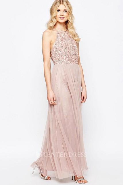 de3ecac1cd Sheath High Neck Sleeveless Floor-Length Tulle Bridesmaid Dress With Sequins  - UCenter Dress