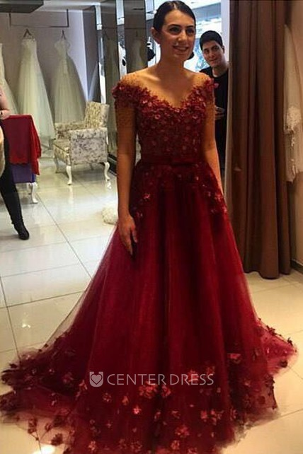 7ea94f47d2 Glamorous Off-the-Shoulder Burgundy A-Line Prom Dresses 2018 Tulle Appliques  - UCenter Dress
