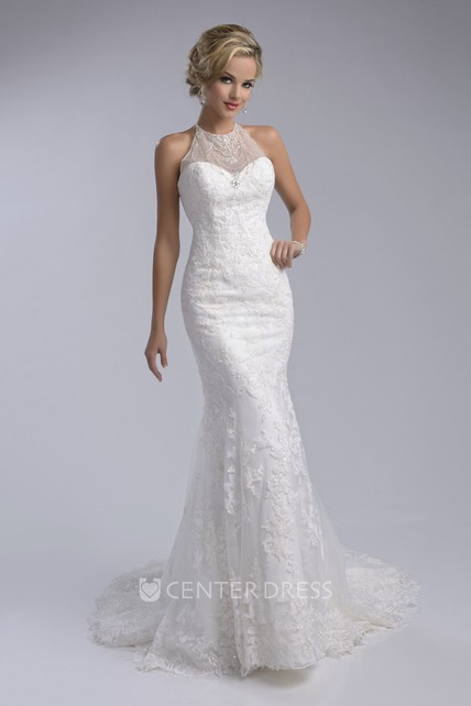 Halter Mermaid Sleeveless Lace Wedding Dress With Lace Up Back